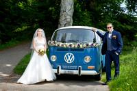 VW camper van as wedding transport