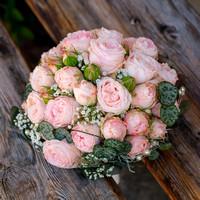 Brautstrauss, pink roses bridal bouquet